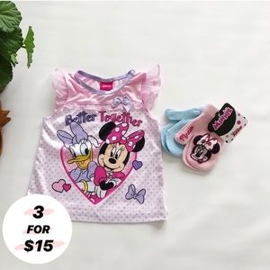 Disney | Minnie Daisy Duck Pajama Shirt Mittens 2T